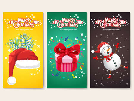 Collection Merry Christmas and Happy New Year greeting cards. Santa Claus hat, Gift boxe, Snowman, characters. Set of vector icons illustrations 일러스트