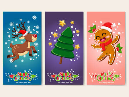 Collection Merry Christmas and Happy New Year greeting cards. Reindeer, Christmas Tree, Gingerbread, characters. Set of vector icons illustrations