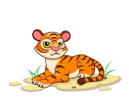 Cute Tiger Cartoon Characters on white background. Kid, baby vector art illustration with funny animal