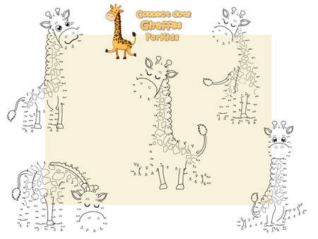 Connect The Dots and Draw Cute Girffes Cartoon Set. Educational Game for Kids. Vector Illustration Happy Animal