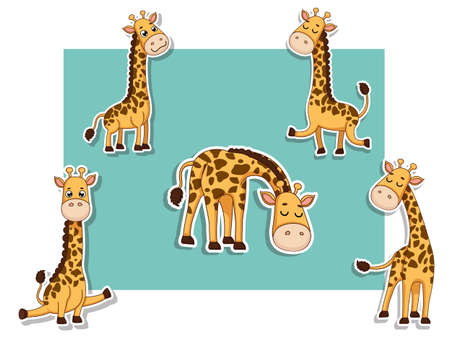 Cute Girffes Cartoon Sticker Set. Vector Illustration With Cartoon Happy Animal