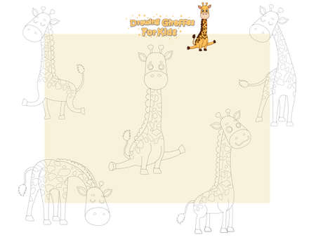 Drawing and Paint Cute Girffes Cartoon Set. Educational Game for Kids. Vector illustration With Cartoon Happy Animal