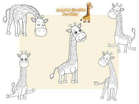 Coloring the Cute Girffes Cartoon Set. Educational Game for Kids. Vector illustration With Cartoon Happy Animal 일러스트