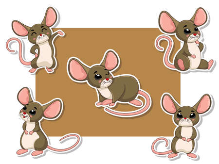 Cute Rats Cartoon Sticker Set. Vector Illustration With Cartoon Happy Animal