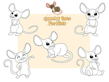Coloring the Cute Rats Cartoon Set. Educational Game for Kids. Vector illustration With Cartoon Happy Animal