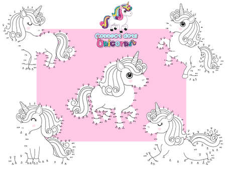Connect The Dots and Draw Cute Unicorns Cartoon Set. Educational Game for Kids. Vector Illustration Happy Animal