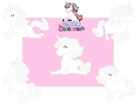 Drawing and Paint Cute Unicorns Cartoon Set. Educational Game for Kids. Vector illustration With Cartoon Happy Animal Illustration