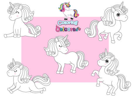 Coloring the Cute Unicorns Cartoon Set. Educational Game for Kids. Vector illustration With Cartoon Happy Animal Illustration