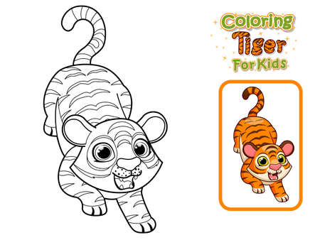 Coloring Pages and Printables Cute Cartoon Tiger. Crafts and Worksheets for kid. Vector Illustration Cartoon Animal Characters