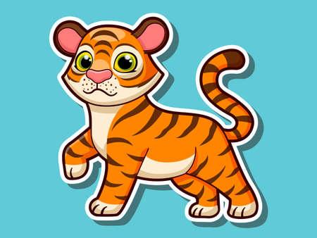 Cute cartoon tiger sticker mascot animal character. Vector art illustration wild animal stickers Illustration