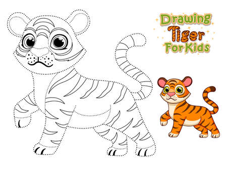 Drawing and coloring pages printables cute cartoon Tiger. Crafts and Worksheets for kid. Vector Illustration. Learning letters for toddlers, preschool, kindergarten