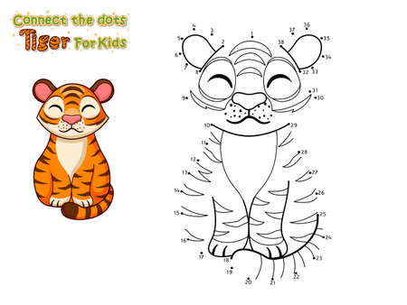 Connect the dots and draw cute cartoon Tiger. Crafts and worksheets for kid. Vector Illustration. Learning letters for toddlers, preschool, kindergarten