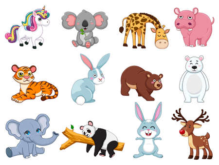 Cute animals collection. animal isolates in cartoon flat style. white background. Vector illustration design template. Farm animals, wild animals, water animal