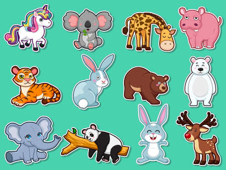 Collection character cute animals Stickers. Animal cartoon flat style. Vector illustration design template. Farm animals, wild animals, water animal 일러스트