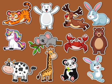 Collection character cute animals Stickers. Animal cartoon flat style. Vector illustration design template. Farm animals, wild animals, water animal Illustration