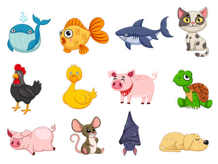 Cute animals collection animal character. Isolates in cartoon flat style white background. Vector illustration design template. Farm animals, wild animals, water animal