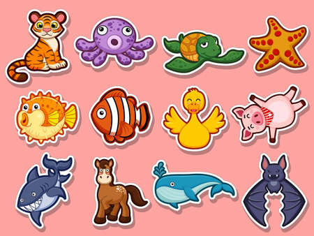 Animal stickers for kids. Collection cute Animal cartoon flat style. Vector illustration design template. Farm animals, wild animals, water animal