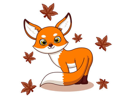 Cute Fox Cartoon Characters on white background. Kid, baby vector art illustration with funny animal. flat cartoon style