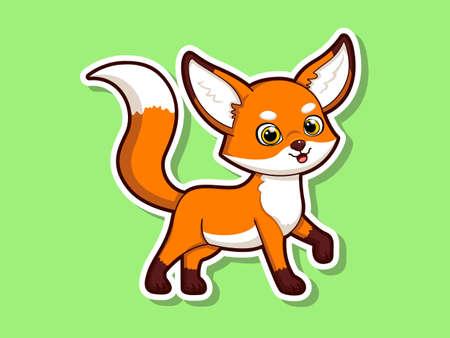 Cute cartoon tiger sticker mascot animal character. Vector art illustration. hand drawn fox animal stickers Illustration
