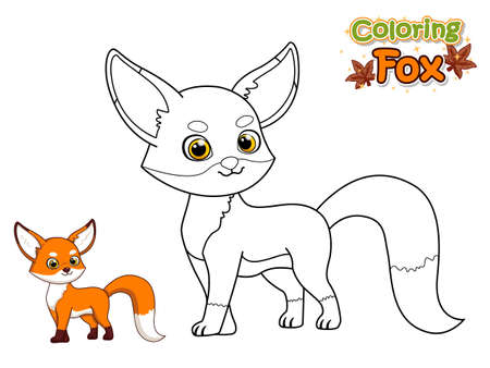 Coloring The Cute Cartoon Fox. Educational Game for Kids. Vector Illustration With Cartoon Animal Characters. Crafts and Worksheets for kid Illustration