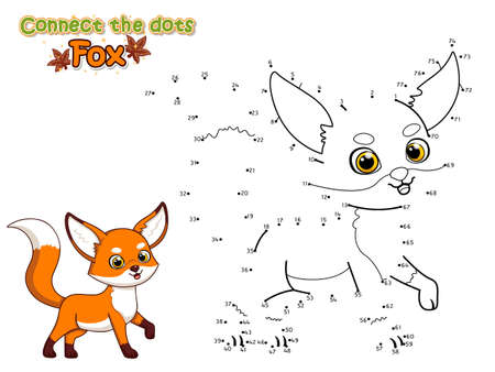 Connect The Dots and Draw Cute Cartoon Fox. Educational Game for Kids. Vector Illustration With Cartoon Animal Characters.Crafts and worksheets for kid