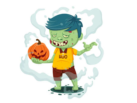 Vector illustration of Cartoon Zombie. Happy halloween day Character zombie