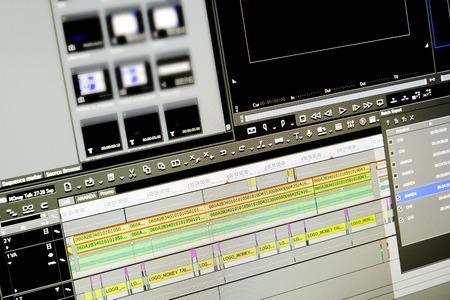 display of program edit video on a monitor 写真素材
