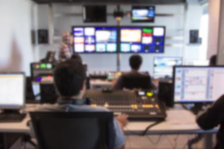 ぼかし画像放送テレビ制御室 写真素材