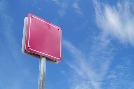 Blank sign pink white blue sky.