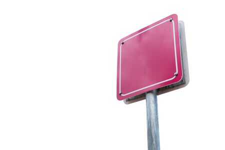 Blank sign pink isolated on white background.