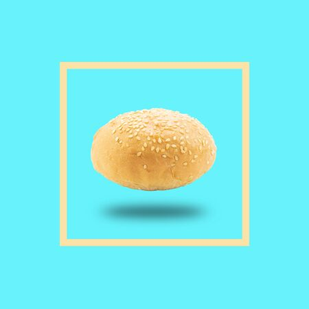 Burger dough in frame on blue color background. 写真素材 - 133460298