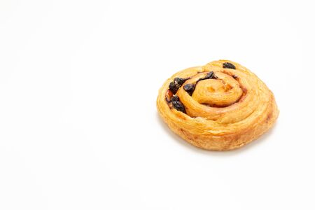 Raisin Bread with copy space on the white background. Standard-Bild - 134095557