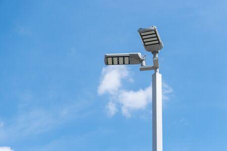 Street light with blue sky.
