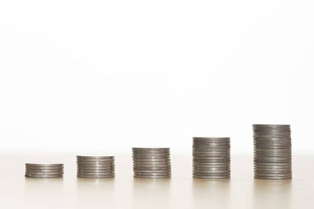 Stack of coins white background, Money business concept. Standard-Bild - 138145923