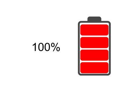 battery icon energy 100 percent white background. Standard-Bild - 138145926