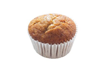 Banana cupcakes isolated on white background, Clipping path. Standard-Bild - 138145930