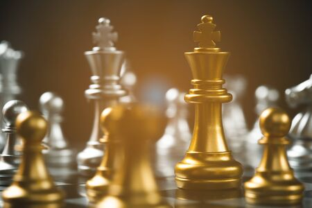 Chess game strategic business leadership successful teamwork. business leader concept. Standard-Bild - 135233211