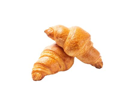 fresh croissants with top view isolated on white background Standard-Bild - 138146323