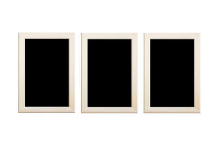 Collection empty black color photo wood frame isolated on white background, clipping path.
