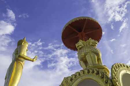 jade buddha temple: Gold Buddha statue and Gold lion statue, Asian, Thailand