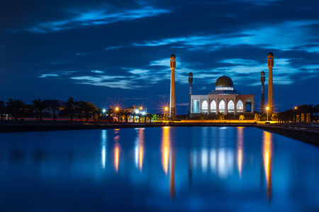 ancient india: Twilight on mosque Reflex on water, Thailand Stock Photo