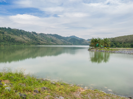 Compacted concrete dam in Thailand Stock Photo