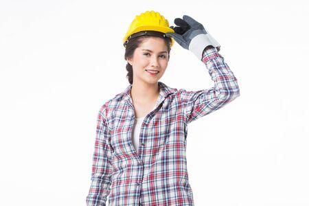 工業労働者の女性。白い背景に分離