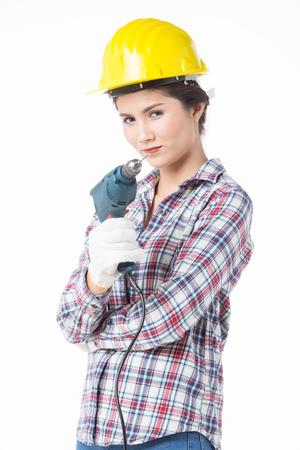 ミスタードリラーと工業労働者の女性。白い背景に分離
