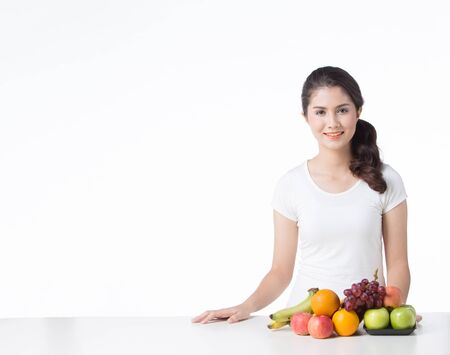 beautiful woman with healthy food, white background isolate Stok Fotoğraf