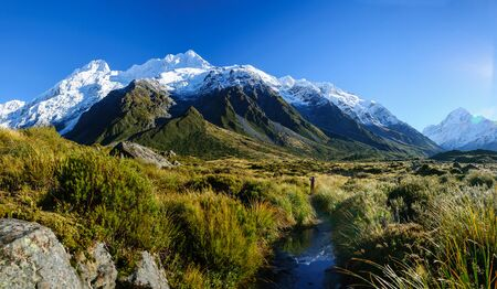 This is a Hooker Valley Track,Mount Cook, New Zealand.