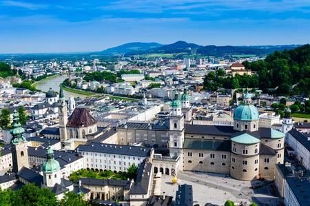 amadeus mozart: Salzburg City Austria,Aerial beautiful Panoramic View of the historic Stock Photo