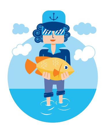 bream: bream man sea fish vector Illustration