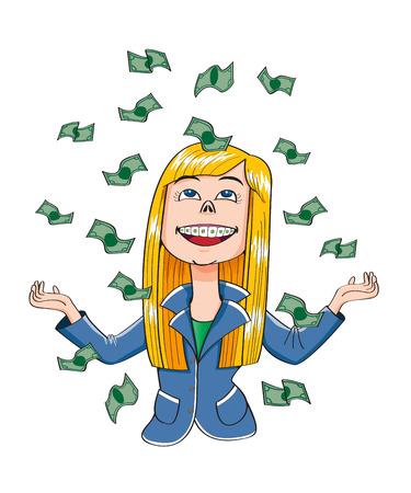 dinero volando: ni�a feliz ganador el dinero del vuelo del vector