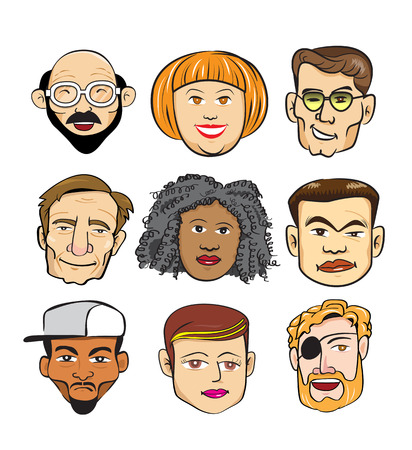 diverse group: Diverse Cheerful People Faces Concept group